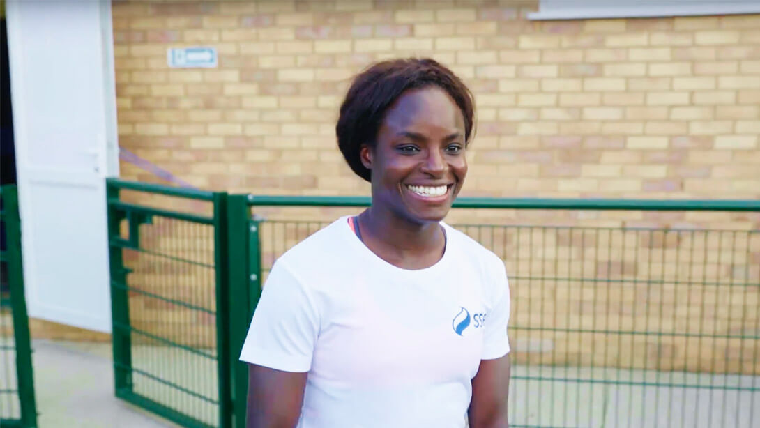 Play video: England football star Eni Aluko surprises young footballer at training.